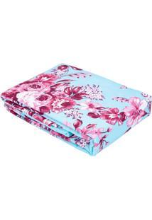 Colcha Queen Azul Estampa Floral - 90 Fios-Camile