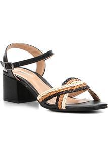 Sandália Shoestock Salto Bloco Tiras Trançadas Feminina - Feminino-Preto