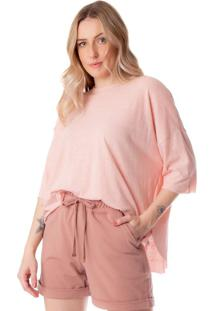 Blusa Feminina Biamar Oversized Básica Rosa Claro - U
