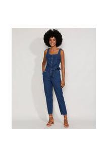 Macacão Jeans Feminino Com Bolsos E Faixa Para Amarrar Alça Larga Azul Escuro