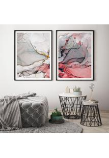 Quadro Com Moldura Chanfrada Abstrato Vermelho Pequeno - Multicolorido - Dafiti