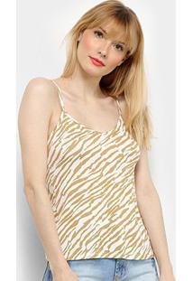 Regata Lecimar Animal Print Zebra Feminina - Feminino-Bege