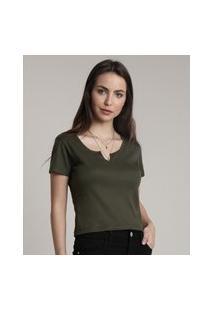 Blusa Feminina Básica Canelada Com Recorte Manga Curta Decote Redondo Verde Militar