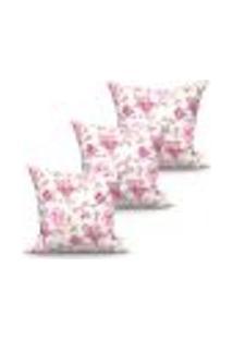 Conjunto De Capas Para Almofada Com 3 Peças Floratta Rosa E Branco 60X60 Cm