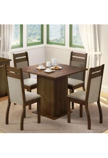 Conjunto Sala De Jantar Madesa Cannes Mesa Tampo De Madeira Com 4 Cadeiras