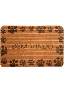 Capacho Love Decor Carpet Bem Vindo Com Patinhas Pretas Marrom Único