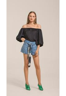 Shorts Leboh Trend Bolso Relogio Jeans Jeans