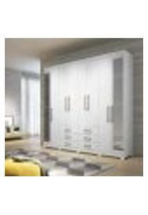 Guarda Roupa Master Com 8 Portas/Pés E Espelho - Branco