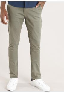 Calça Masculina Chino Slim Em Algodão + Sustentável Verde Militar
