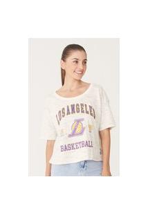 Camiseta Nba Feminina Estampada Los Angeles Lakers Off White