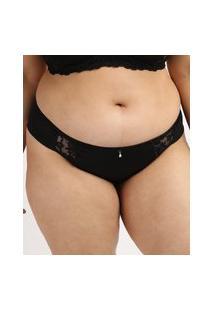 Calcinha Feminina Dilady Plus Size Biquíni Em Microfibra Preta