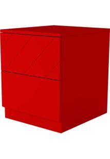 Mesa Lateral Eugênia 2 Gavetas Listras Diagonais Vermelho Flash - Orb
