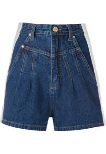 Amapô Short Jeans Clochard Bicolor - Azul