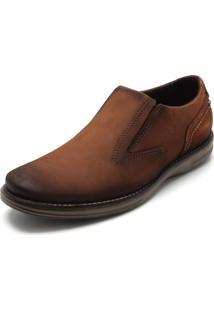 Sapato Social Couro Pegada Recortes Caramelo