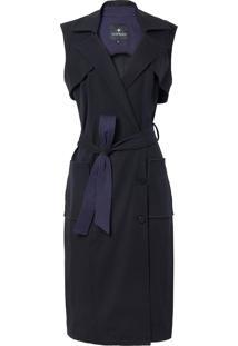 Vestido Le Lis Blanc Alissa Pala Removível Midi Alfaiataria Preto Feminino (Black/ Dark Blue, 38)