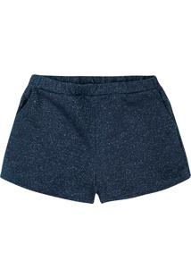 Shorts Feminino Em Moletom De Algodão E Fio Métalico