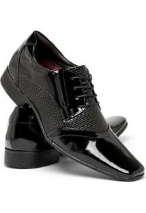 Sapato Social Nevano Com Cadarço Em Couro Legítimo Masculino - Masculino-Preto