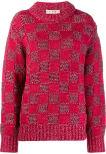 Marni Suéter Xadrez - Vermelho