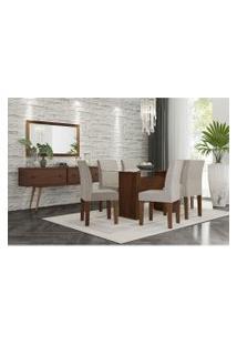 Conjunto Mesa De Jantar Zafira Com 6 Cadeiras Marrom Rv Móveis