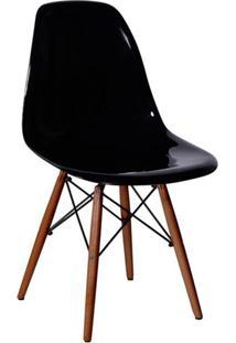 Cadeira Eames Base Madeira Escura E Preta