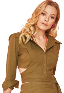 Camisa Garnus Linho Cropped Verde Militar