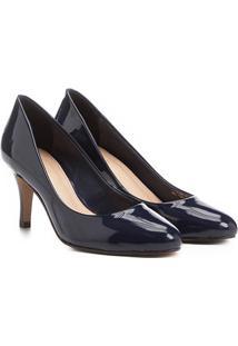 Scarpin Shoestock Salto Médio Bico Amendoado - Feminino-Marinho