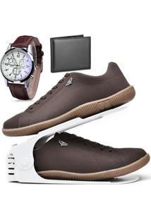 Kit Sapatênis Sapato Casual Com Organizador, Carteira E Relógio Dubuy 920Db Marrom - Kanui