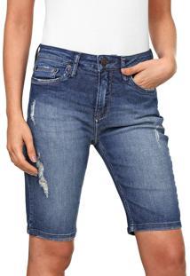 Bermuda Jeans Calvin Klein Jeans Reta Destroyed Azul