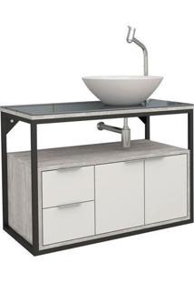 Gabinete Para Banheiro 80Cm Mdf Apoema Branco Com Calcare 79,7X58,8X45,2Cm - Cozimax - Cozimax