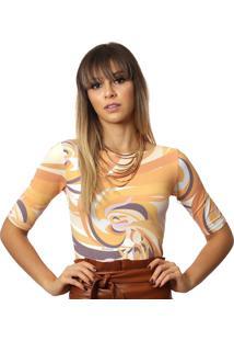 Blusa Ficalinda Meia Manga Com Uv Fashion Estampa Exclusiva Orange Wave Decote Canoa - Laranja - Feminino - Elastano - Dafiti