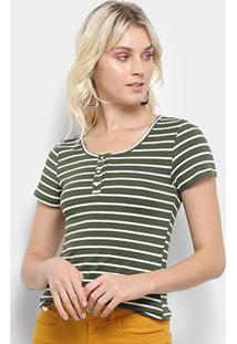 Camiseta Top Moda Listrada Feminina - Feminino-Verde+Branco