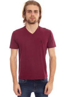 Camiseta Gola V Básica Aleatory Masculina - Masculino-Bordô