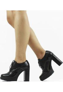 Ankle Boot Amy Verniz Feminino - Feminino-Preto