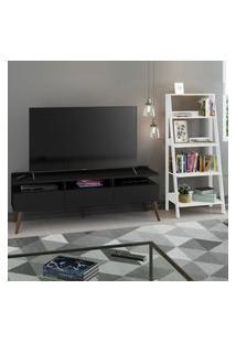 Rack Para Tv Até 65 Polegadas Madesa Londres E Estante Escada - Preto/Branco Preto