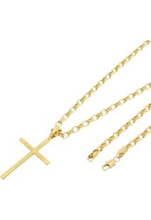 Pingente Cruz Com Corrente Cartier Tudo Jóias Folheado A Ouro 18K Dourada