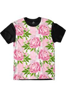 Camiseta Bsc Pink Flower Stripes Sublimada Rosa
