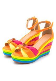 Sandália Anabela Salto Alto Com Camurça Laranja Pink E Amarelo E Salto Em Sisal Colorido