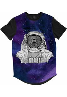 Camiseta Longline Insane 10 Animal Astronauta Urso Bravo No Espaço Sublimada Cinza