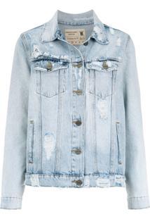 Le Lis Blanc Jaqueta Jeans Bordada - Azul