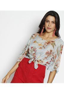 a2beae520f ... Blusa Floral Em Transparência   Amarração- Verde Claro  Dimy