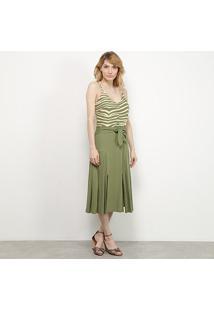 Vestido Midi Il Shin Listras Botões Fenda - Feminino-Verde