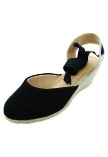 Sandalia Espadrille Anabela Hope Shoes Corda Preta