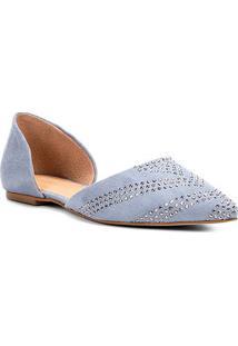 Sapatilha Shoestock Bico Fino Hot Fix Feminina - Feminino-Azul