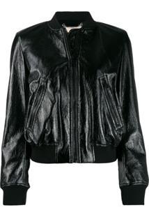 Michael Kors Collection Patent Bomber Jacket - Preto
