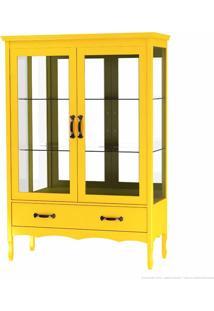 Cristaleira Com Vidro Luiza 2 Portas Amarelo - Urbe Móveis