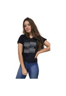 Camiseta Feminina Gola V Cellos Degradê Premium Preto