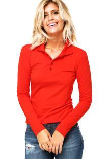 Camisa Polo Manga Longa Malwee Confort Vermelha