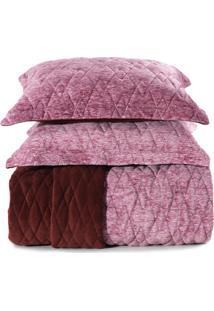 Jogo De Colcha Casal Altenburg Blend Fashion Plush Concept Bordeaux Rosa