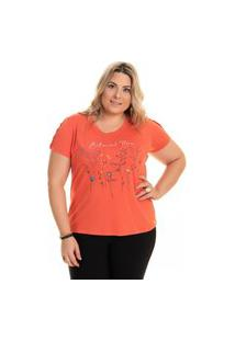 Blusa Feminina Plus Size Malha Viscose Estampa Flores