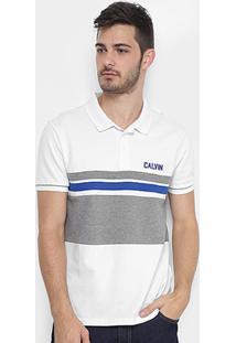 Camisa Polo Calvin Klein Piquet Recorte Masculina - Masculino